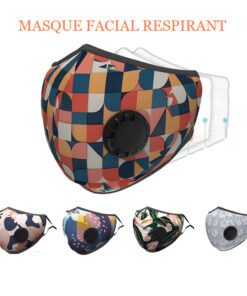 Masque en tissu lavable avec boucle respirante